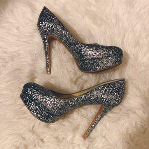 "Gianni Bini glitter platform 5"" high heel 8.5"